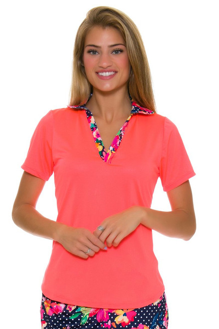 Allie Burke Orange Coral Short Sleeve Golf Polo Shirt AB-GP02-COR Image 1
