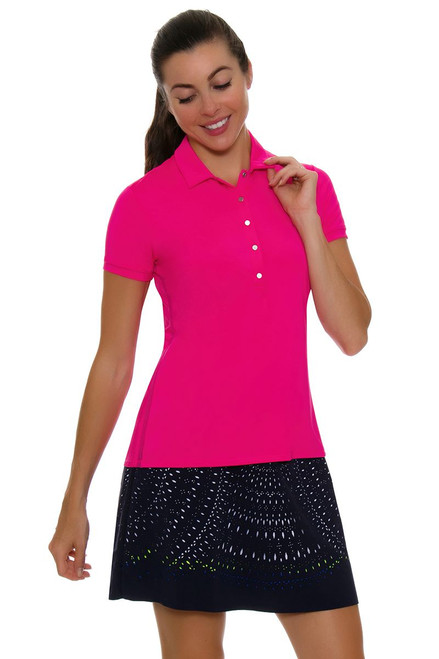 Lucky In Love Women's Laser Cut Medallion Pull On Navy Golf Skort