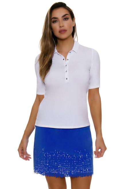 Lucky In Love Women's Laser Cut Scribble Blue Pull On Long Golf Skort