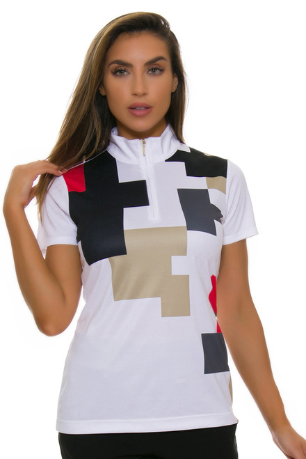 EP Pro NY Women's Gold Standard Placed Puzzle Print Golf Short Sleeve Polo-1