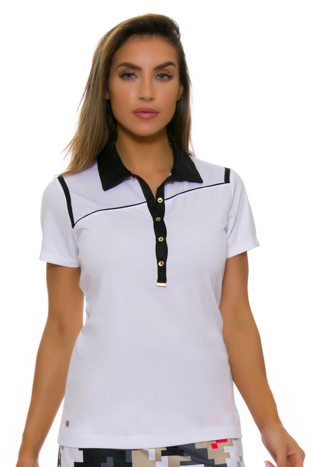 EP Pro NY Women's Gold Standard Angled Piping Golf Short Sleeve Polo-1