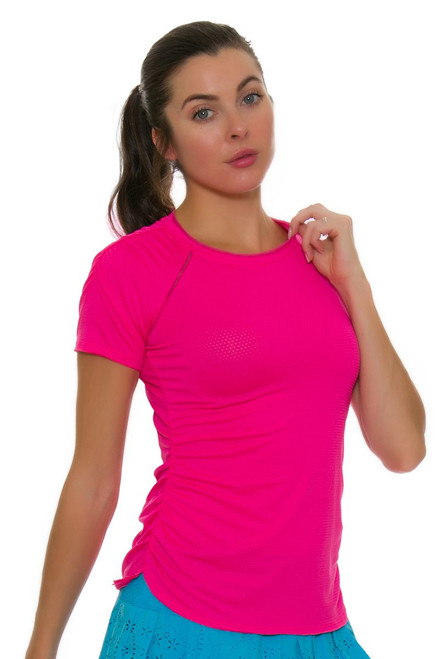 Lucky In Love Women's Core Surreal Shocking Pink Tennis Short Sleeve