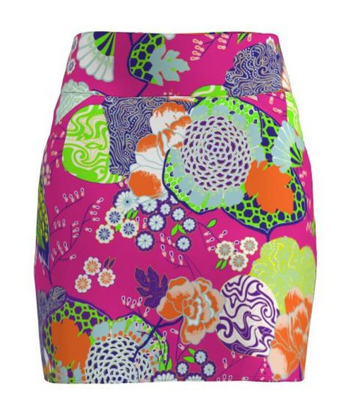 Allie Burke Japanese Garden Pink Print Pull On Golf Skort