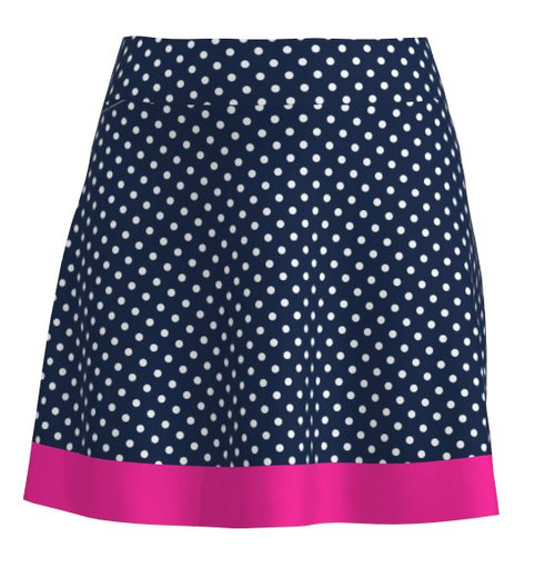 Allie Burke Navy Polka Stripe Flounce Pull On Golf Skort