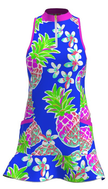 Allie Burke Large Pineapple Print Flounce Golf Dress