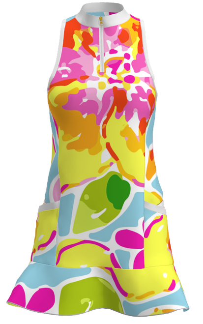 Allie Burke Yellow Flowers Flounce Golf Dress