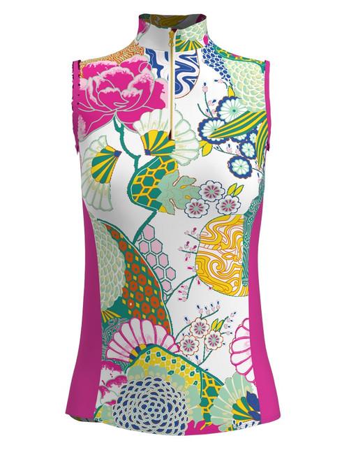 Allie Burke Japanese Garden Print Sleeveless Zip Mock Polo