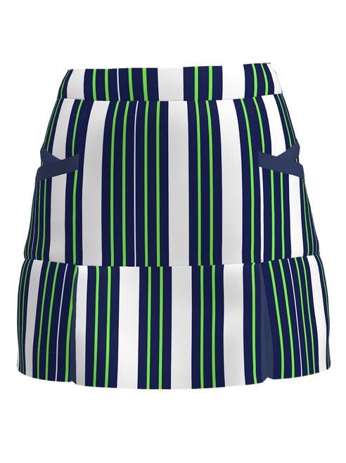 Allie Burke Navy Green Stripe Print Kick Pleat Golf Skort (BSKG04-STRNG)