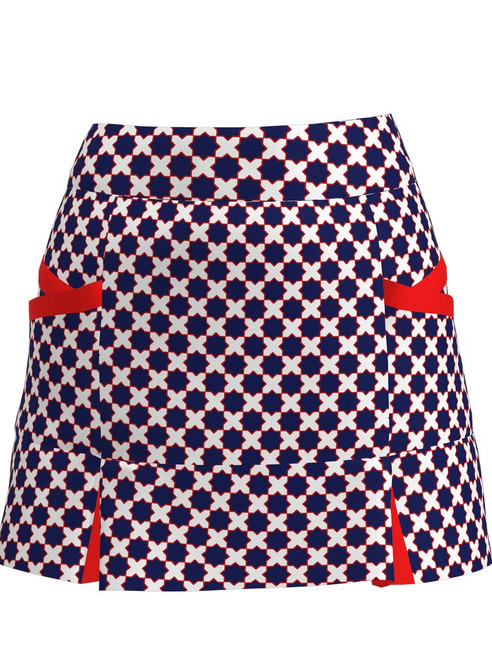 Allie Burke Mosaic Blue Kick Pleat Golf Skort (BSKG04-MOSBWR)