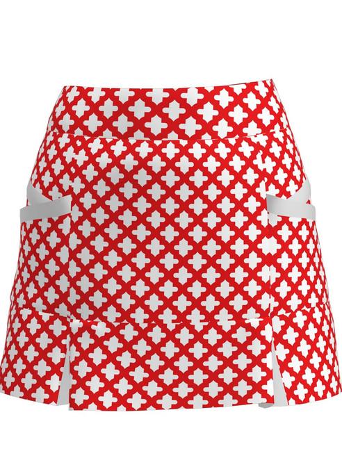 Allie Burke Mosaic Red White Kick Pleat Golf Skort (BSKG04-MOSRWW)