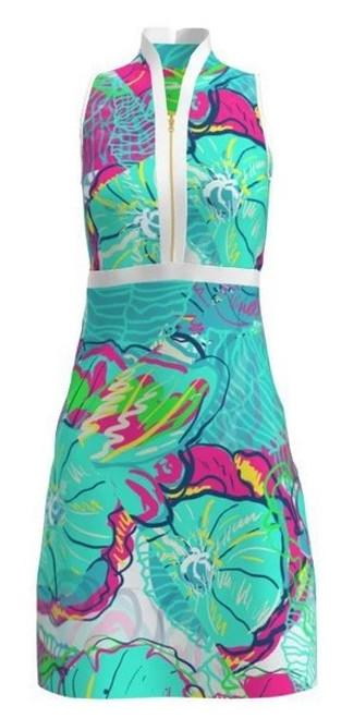 ABSport Preppy Floral Seafoam Pink Golf Dress