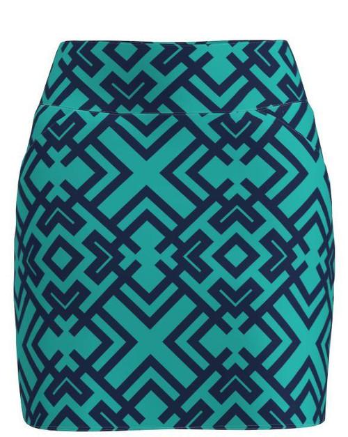 AB Sport Women's Navy Turquoise Geo Golf Skirt