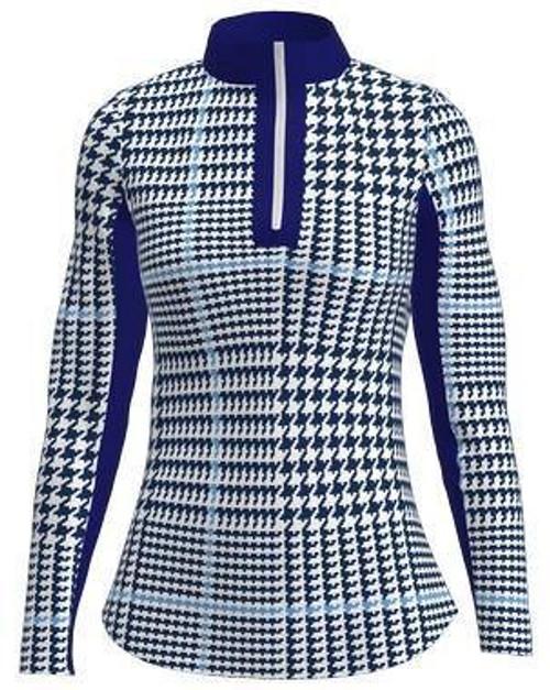 AB Sport Women's Glen Plaid Print Long Sleeve UV 40 Sun Shirt