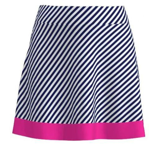 AB SPORT Navy Cross Stripe Flounce Golf Skirt