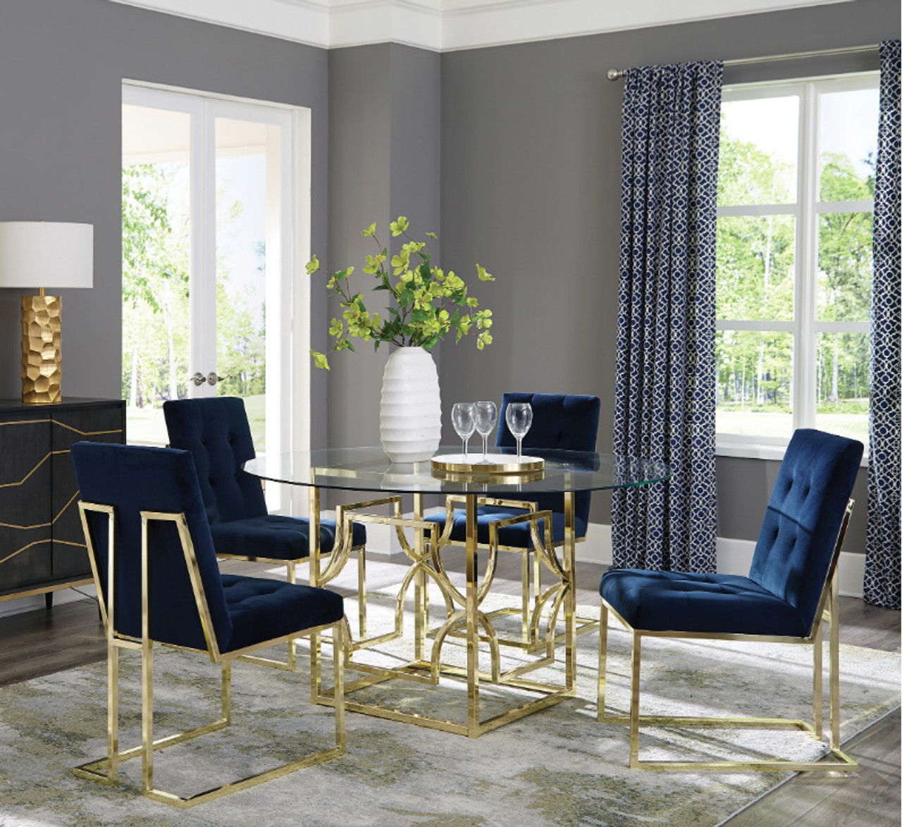Gana Round Glass Dining Table Set Seating For 4