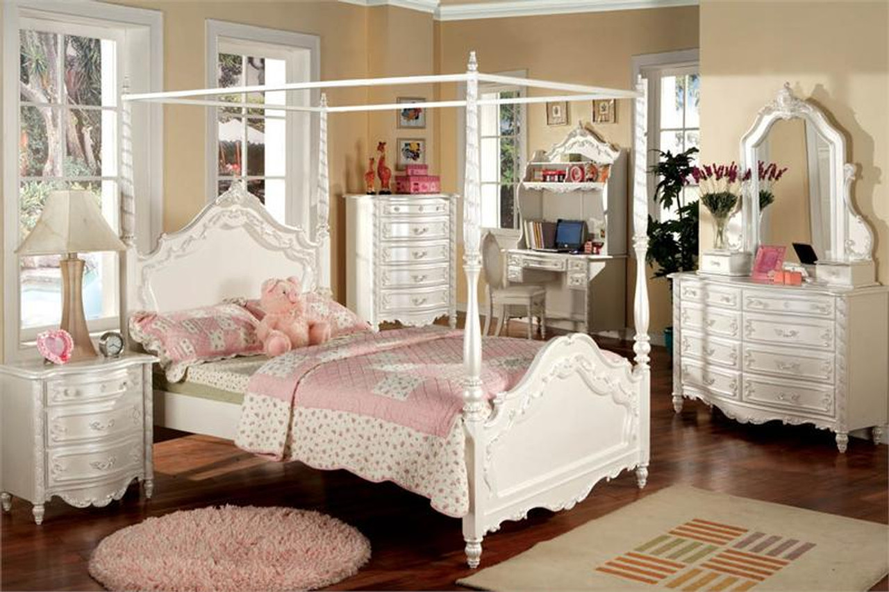 Picture of: Victoria Pearl White Fairy Tale Twin Canopy Bed Beds For Girls