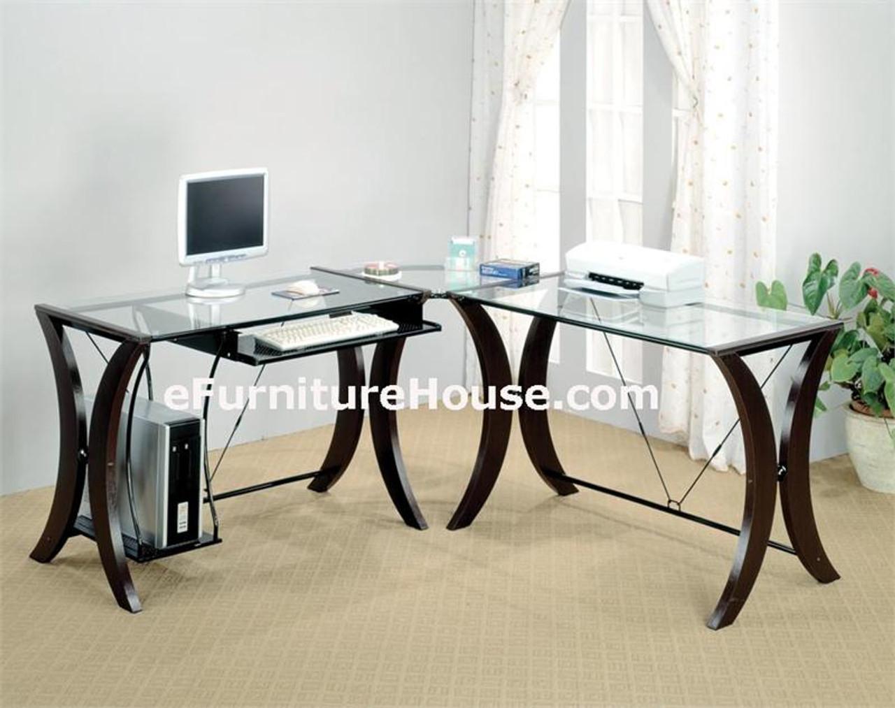 Modern Home Office Glass Computer Desk