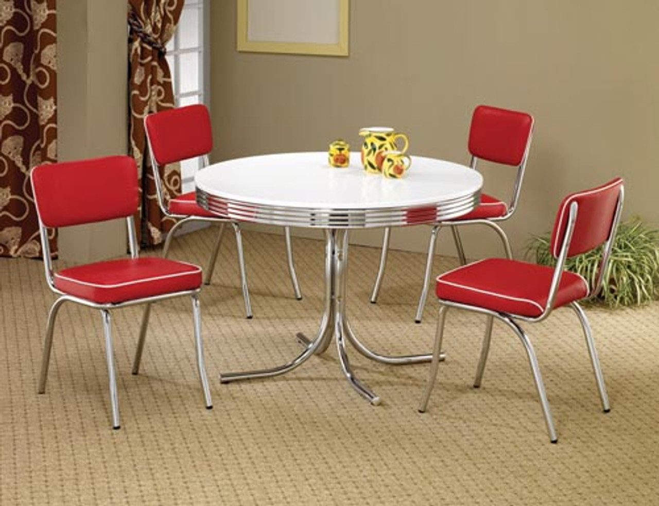 50's Style Round Retro Table w/ Four Red Chairs