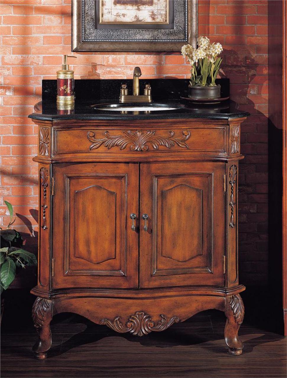 Cherry Sink Cabinet   Granite Top Bathroom Sink Vanity ...