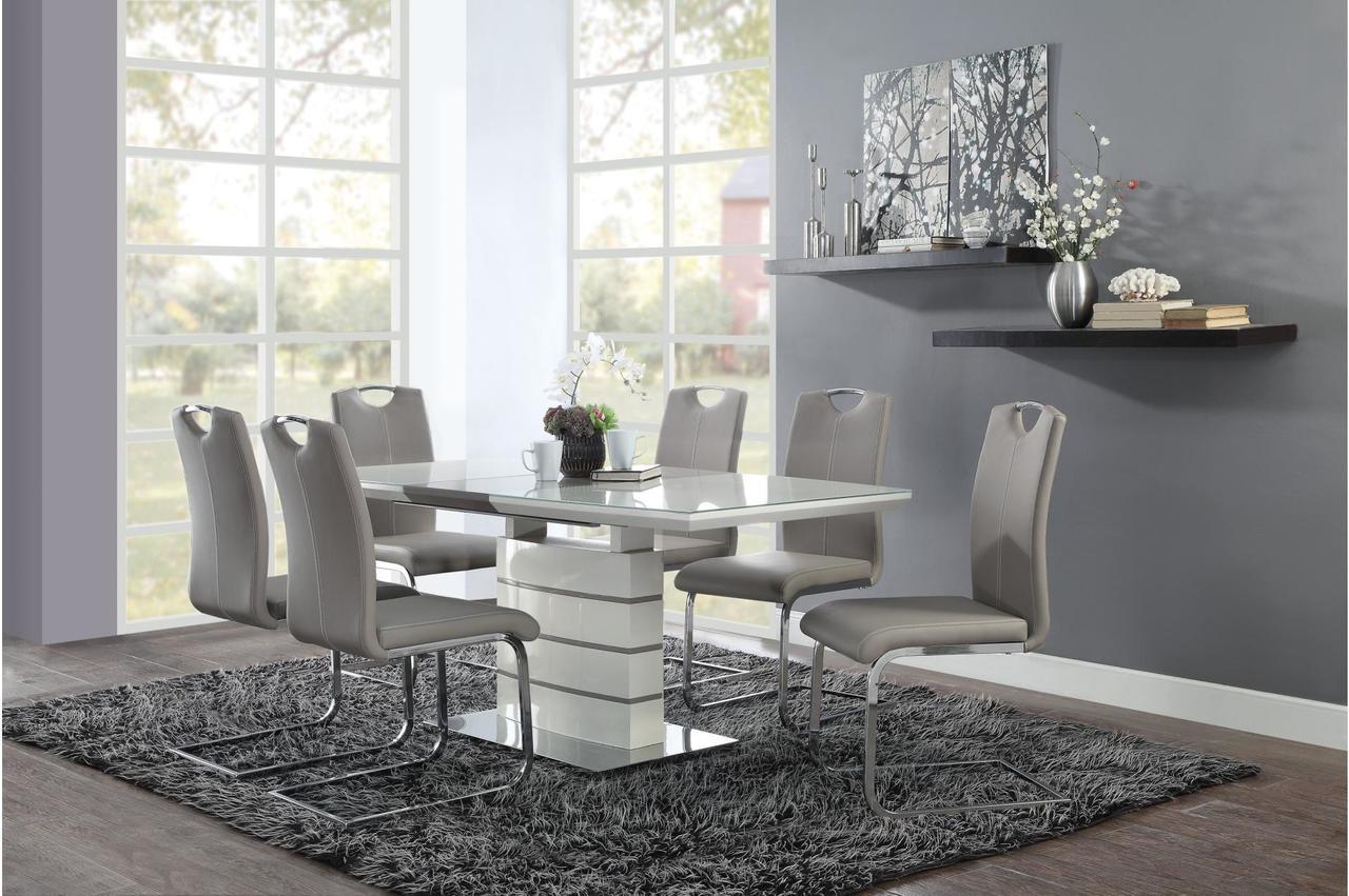eFurniture House & Glissand 7 Piece High Gloss White Dining Set