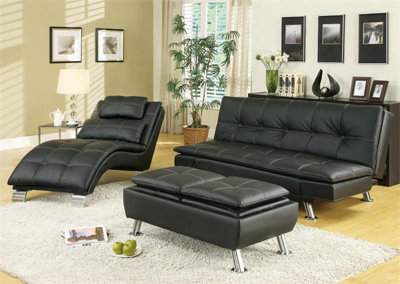 Pleasant Lana Black Vinyl Futon Sleeper Bed Dailytribune Chair Design For Home Dailytribuneorg