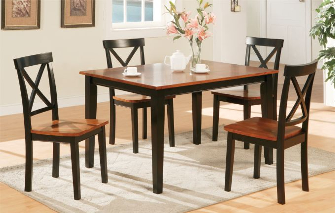 5PC Two Tone Medium Cherry Black Kitchen Table and Chairs