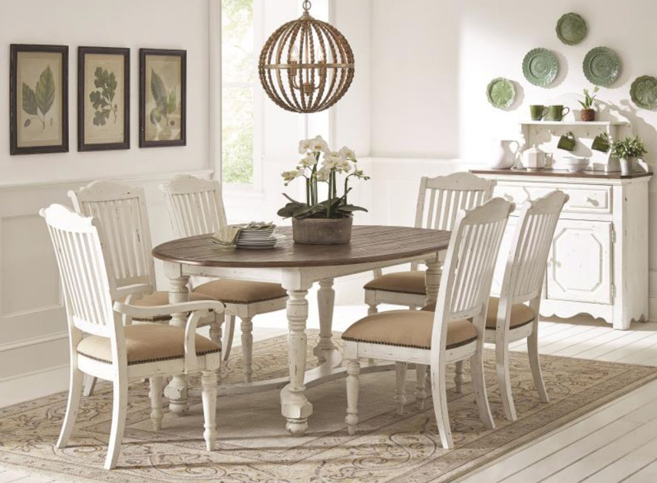 simpson vintage white oval dining table w 6 chairs
