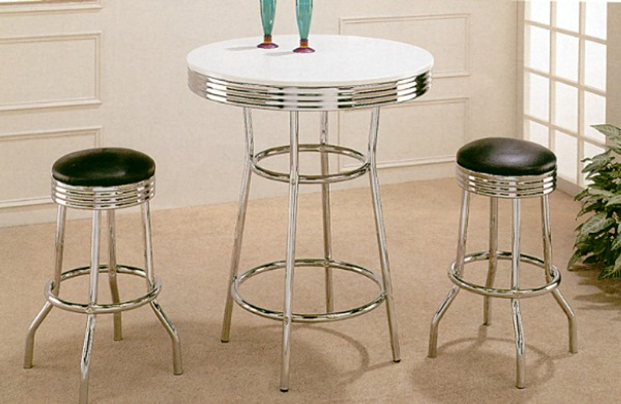 Magnificent 30 White Retro Chrome Bar Table W Black Bar Stools Ocoug Best Dining Table And Chair Ideas Images Ocougorg