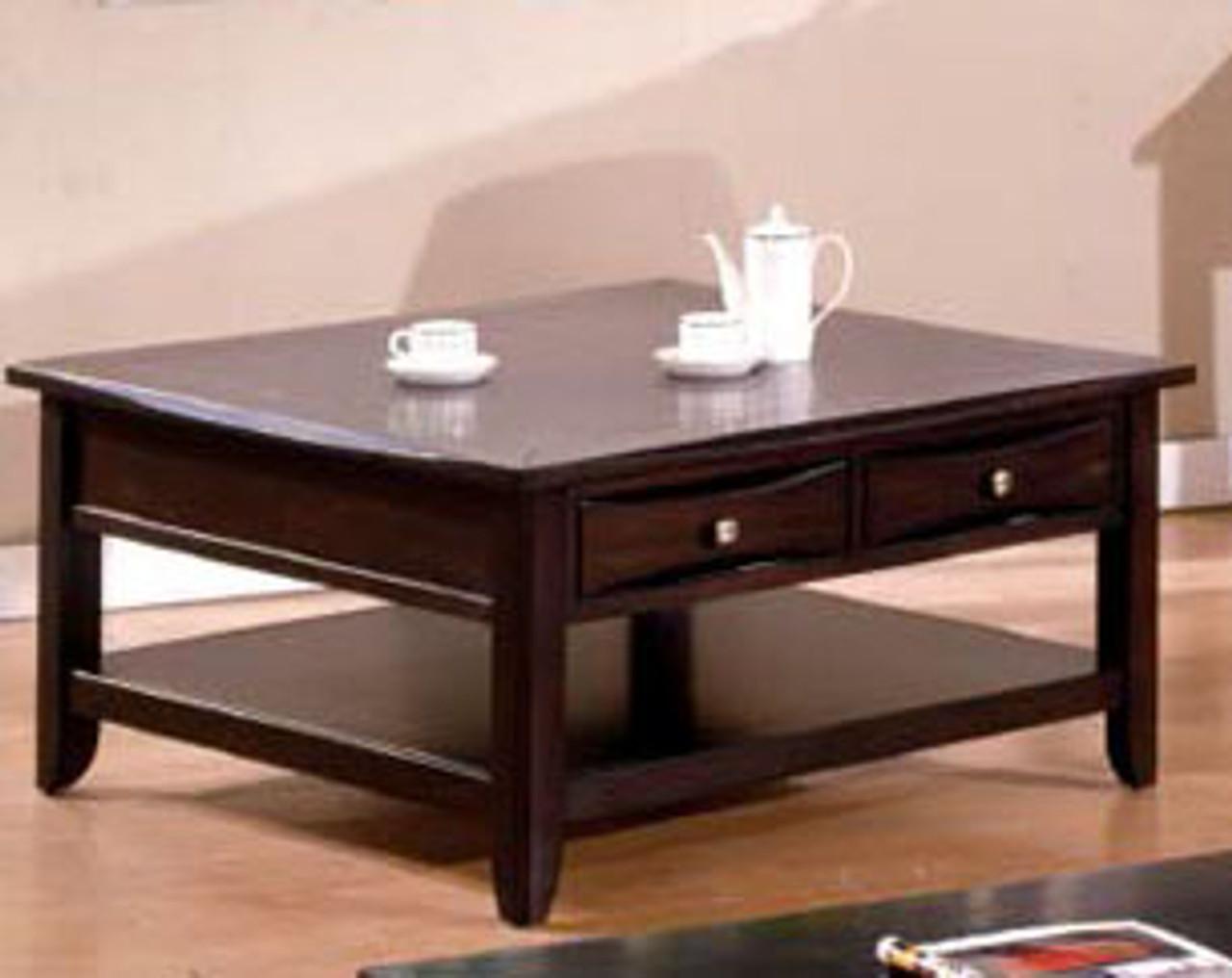 40 Quot Baldwin Espresso Square Coffee Table W Storage Drawers