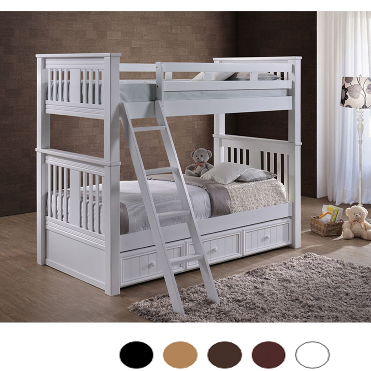 Picture of: Gary Extra Long Convertible Twin Over Twin Bunk Bed