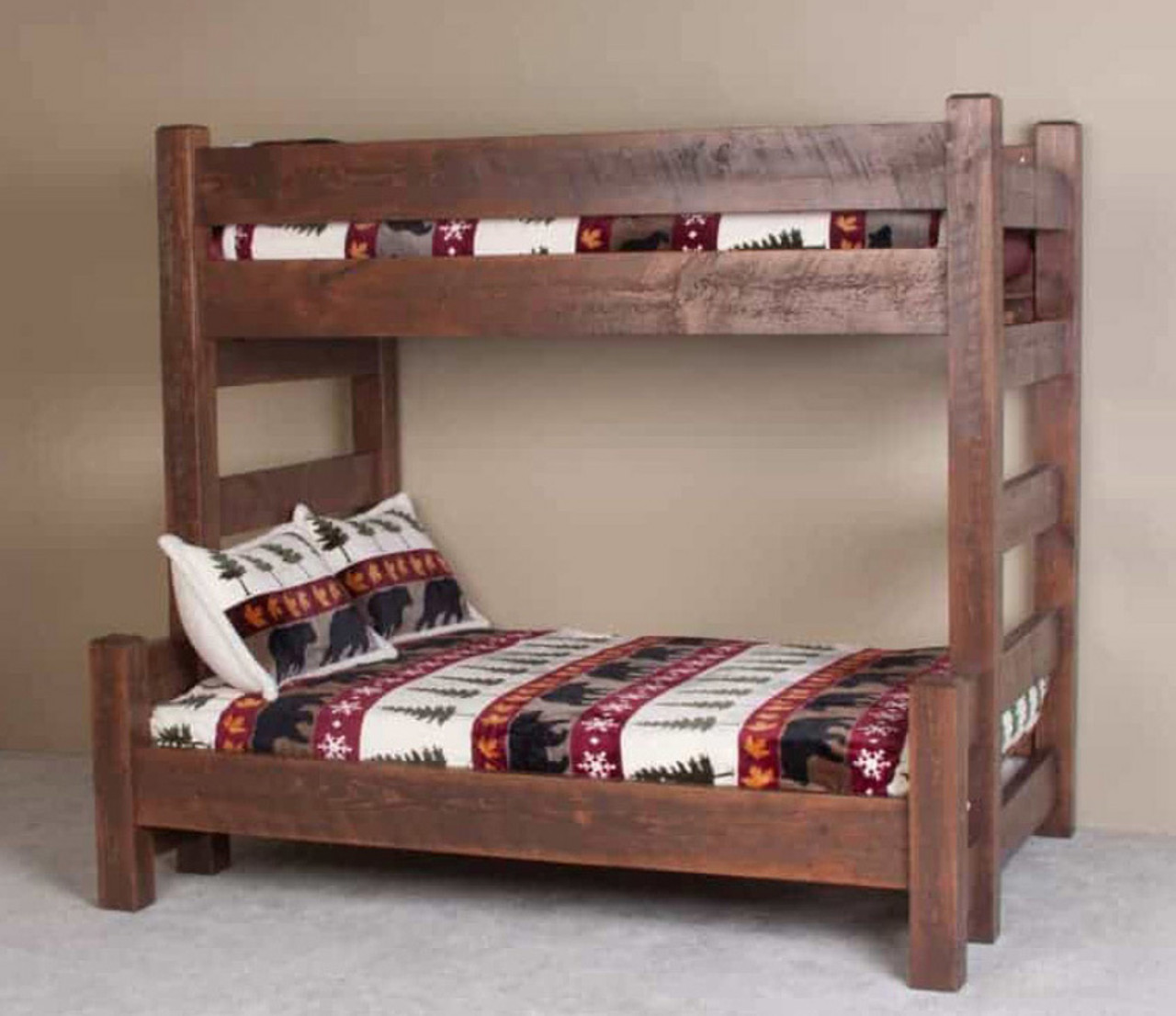 Barnwood Twin Over Full Bunk Bed Log Furniture