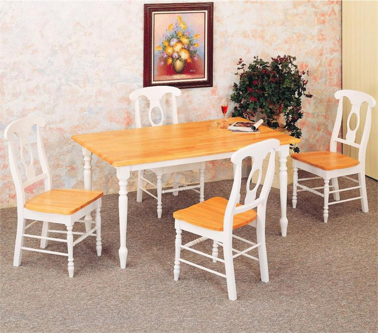 48 Inch White Kitchen Table W 4 Napoleon Chairs