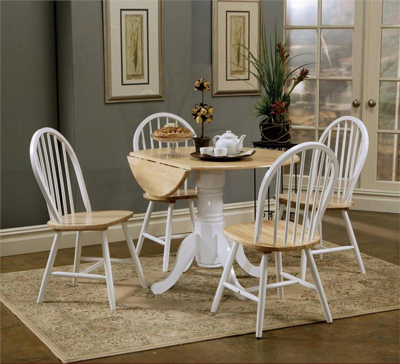 Round Butcher Block Drop-Leaf Kitchen Table w/ Chairs