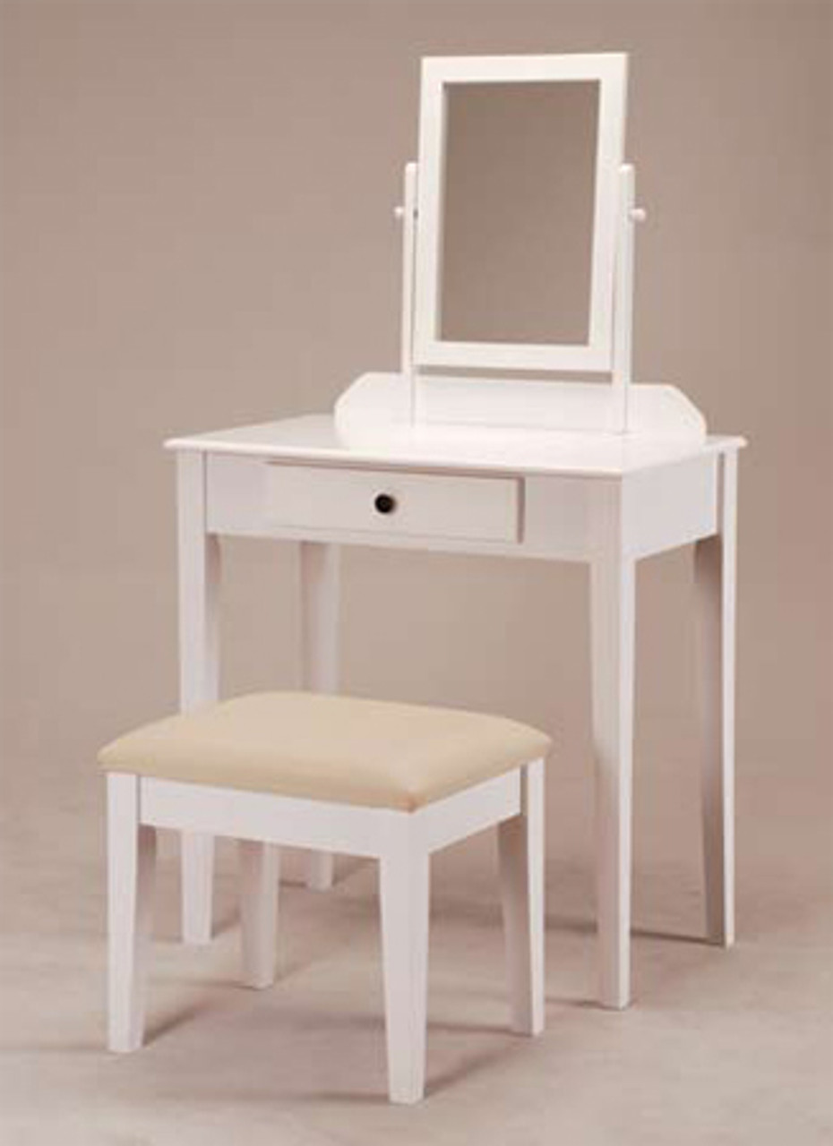 Contemporary White Makeup Table Set W Bench Make Up Tables