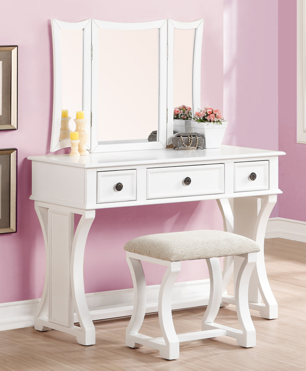 Dulce Makeup Desk With Bench Mirror And Drawers For Sale