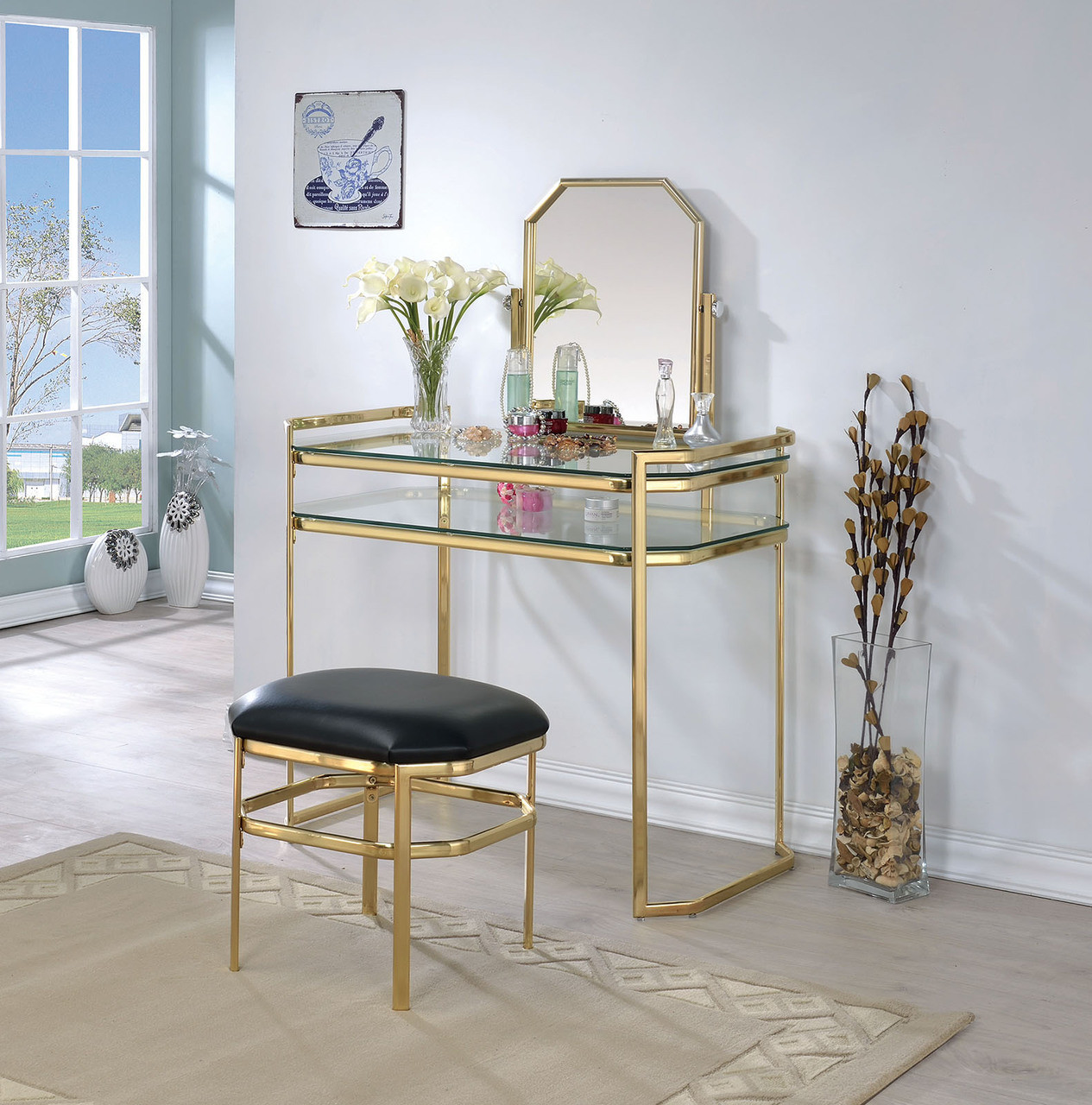 Makeup Vanity.Arabella Gold Metal Makeup Vanity Set