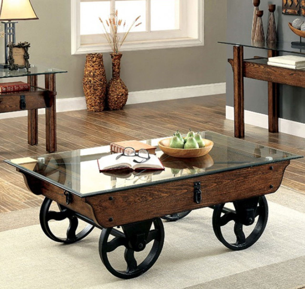 Cm4318 Industrial Glass Rustic Wood Coffee Table