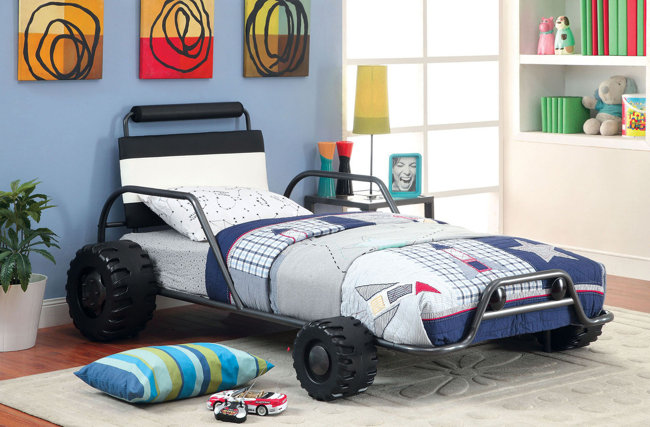 Turbo Twin Metal Car Bed Frame Kids Theme Beds For Sale