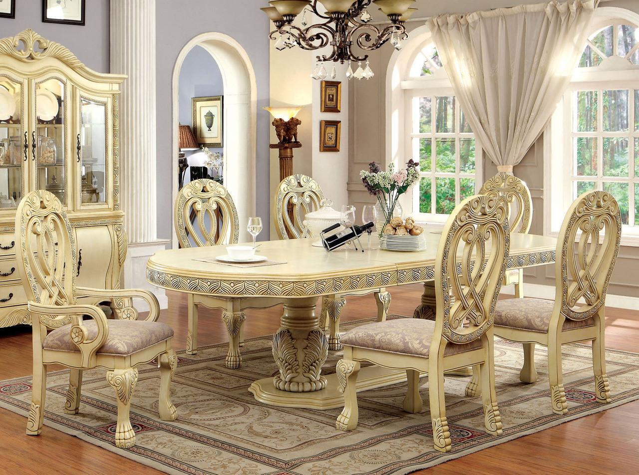 112 Versailles Antique White Dining Table Set