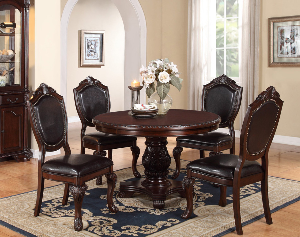 """marseille 48"""" cherry round dining table for 4 persons"""