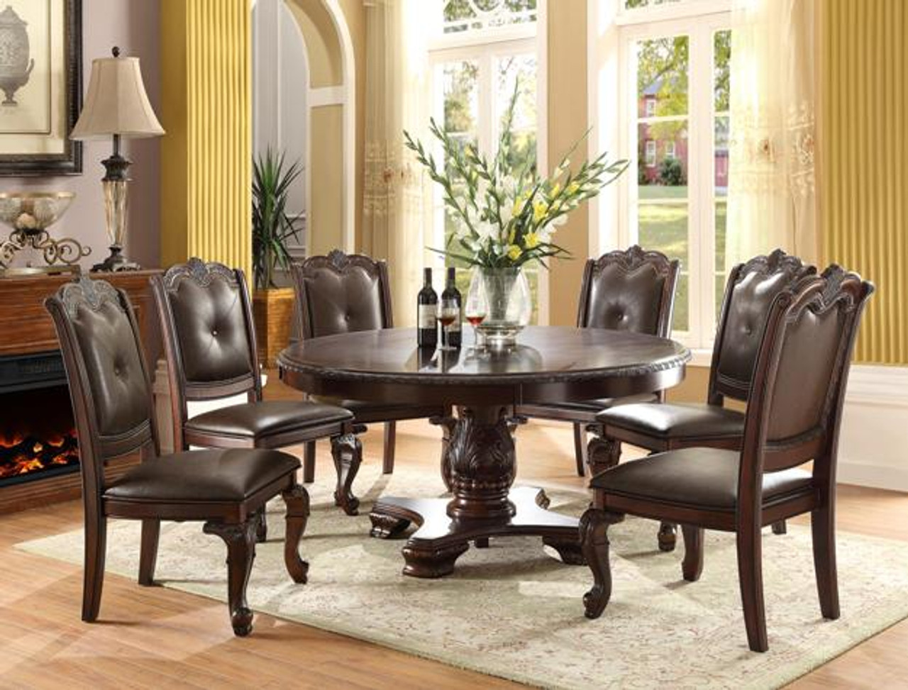 60 Kiera Dark Cherry Round Dining Table For 6 Persons
