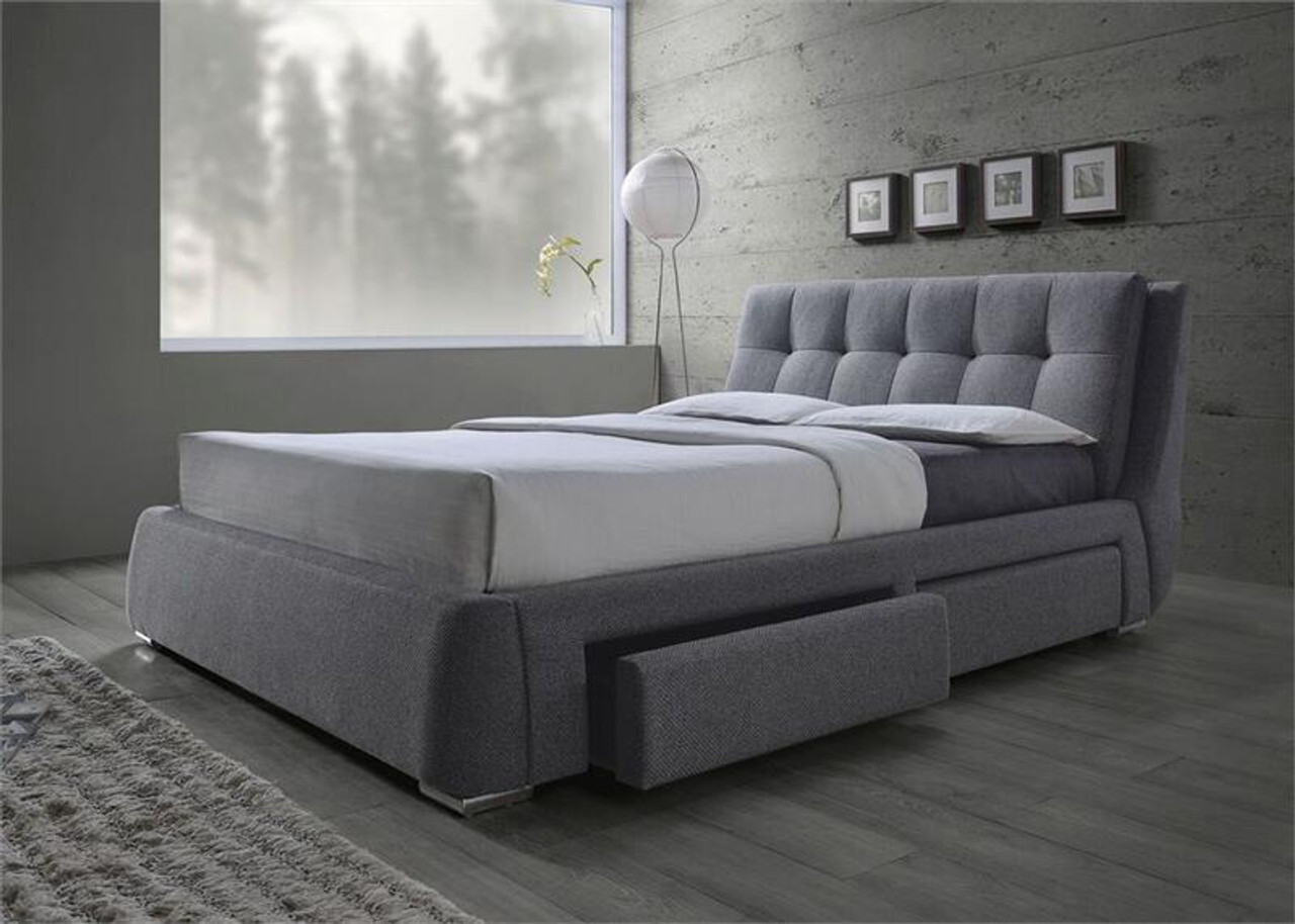 Grey Fabric Platform Bed With Storage Drawers