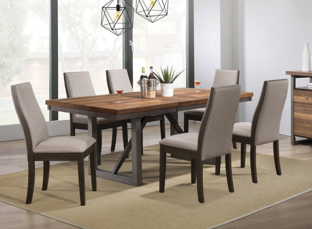 Knightsbridge Walnut Espresso Dining Table Seats 6 Person