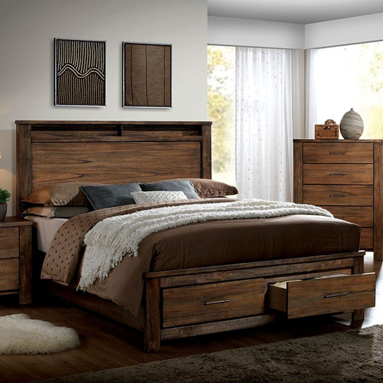 Elkton Rustic Oak Low Profile Platform Bed With Drawers