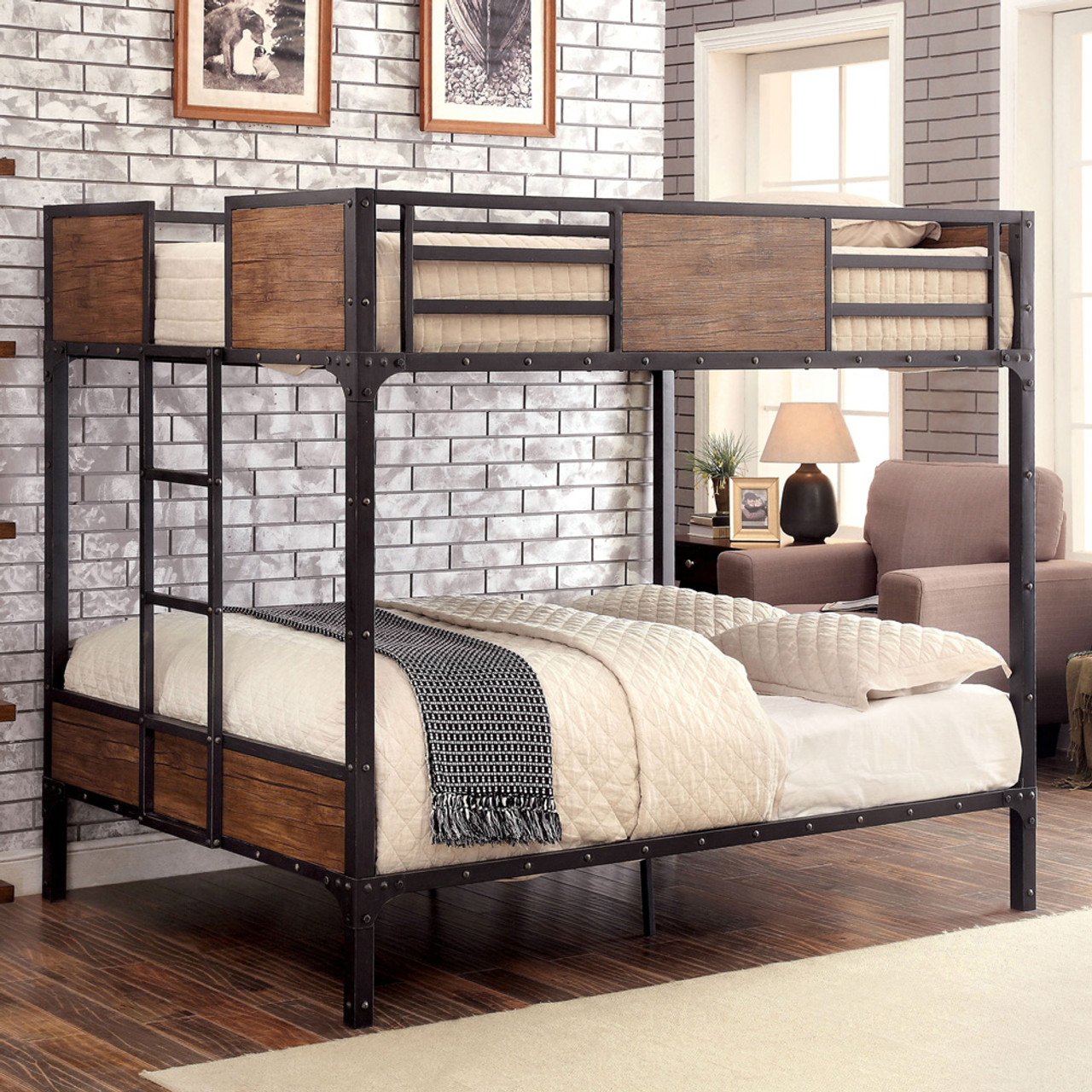 Picture of: Austin Industrial Inspired Metal Full Size Bunk Bed