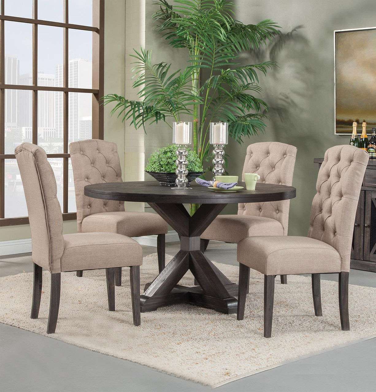 """Alpine Newberry 54"""" Round Table with Chairs in Salvaged Grey"""