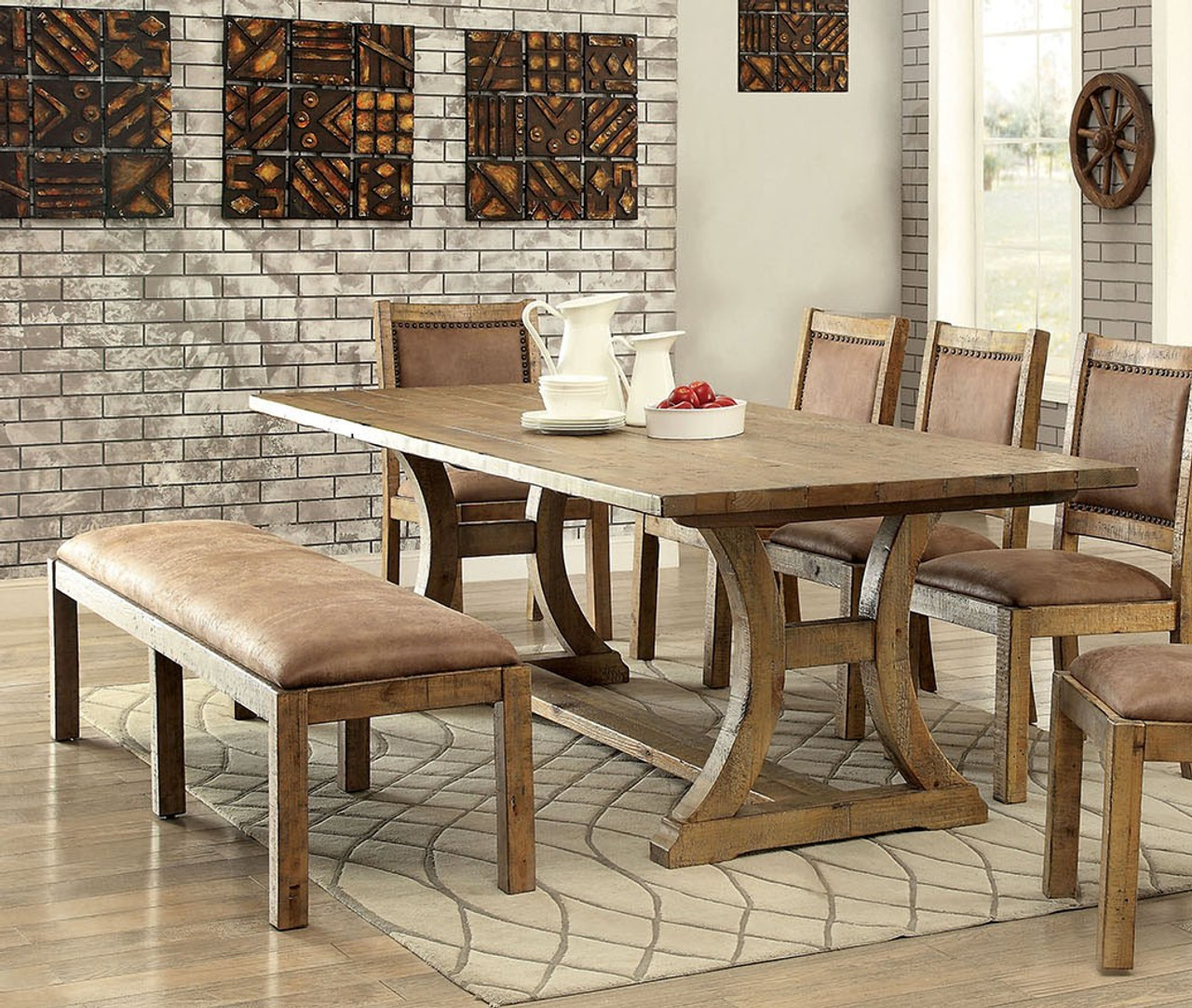 Furniture of America CM3829T Industrial Pine Dining Table Set