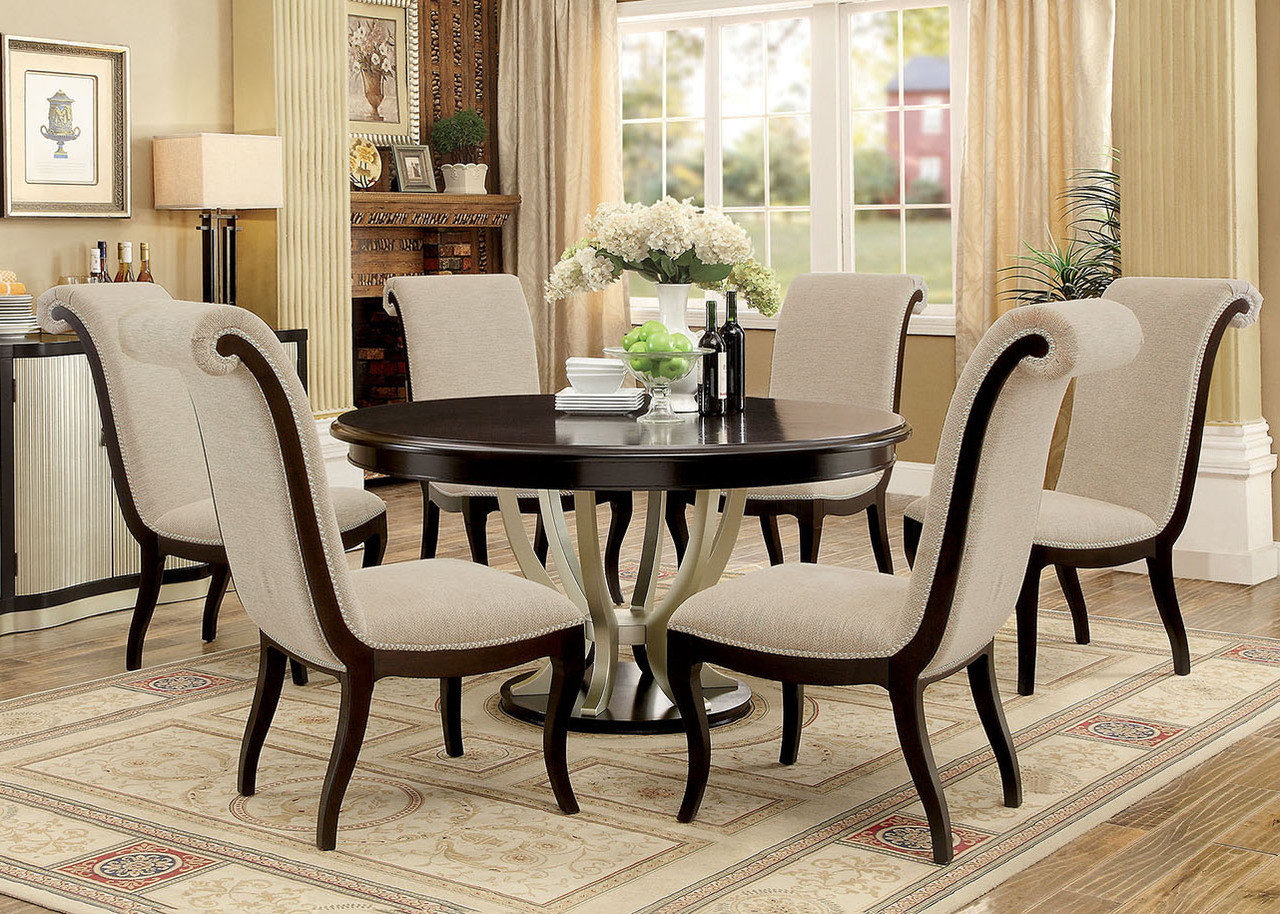 """60"""" Abela Espresso Champagne Round Dining Table Set for 6"""