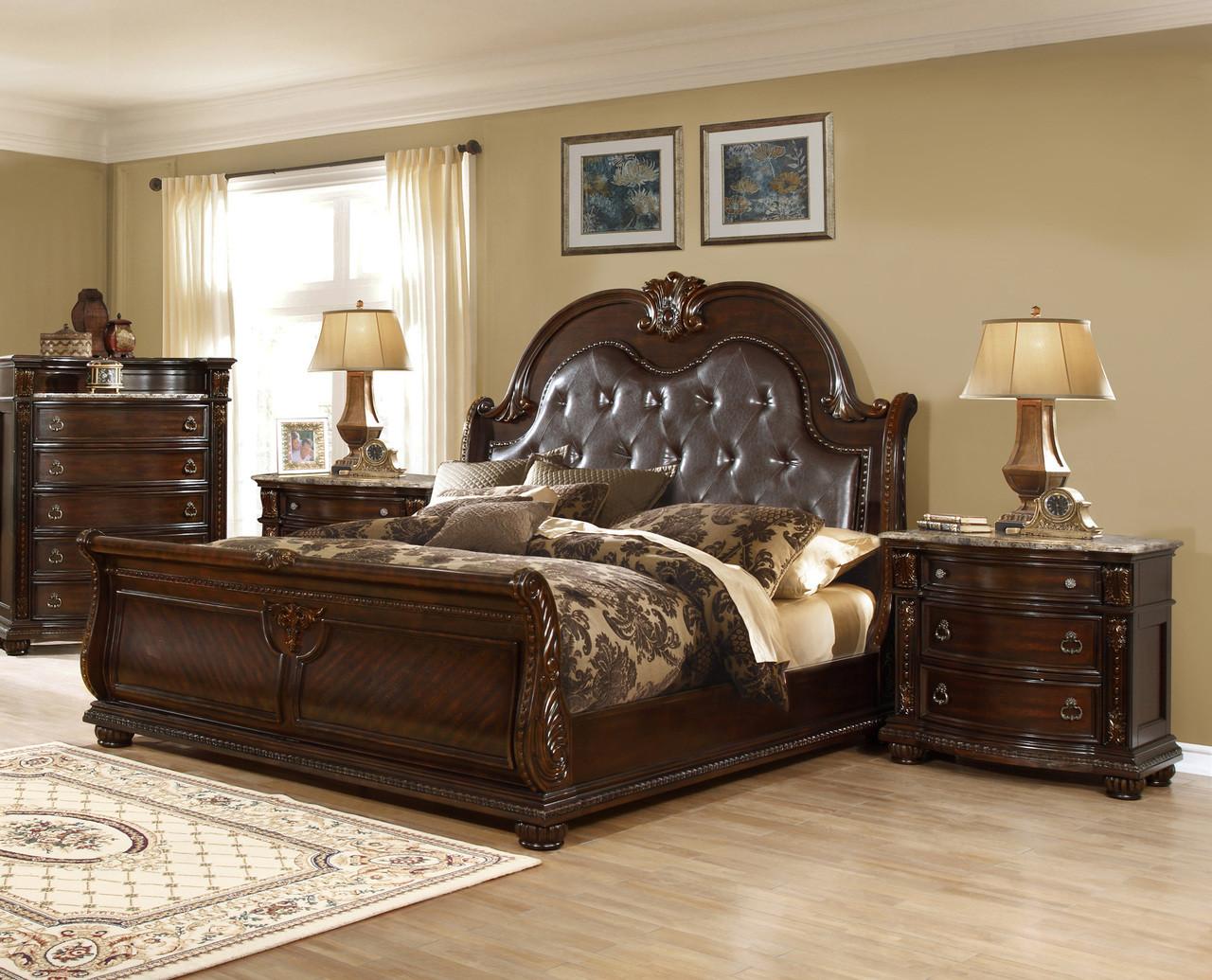 Amesville 4 Pc Walnut Brown Sleigh Bed Dresser Night Stand