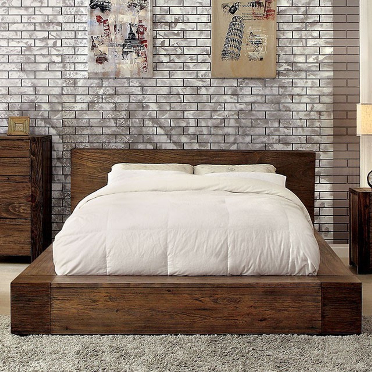 Anton 2 Pc Rustic Low Profile Bed And Nightstand